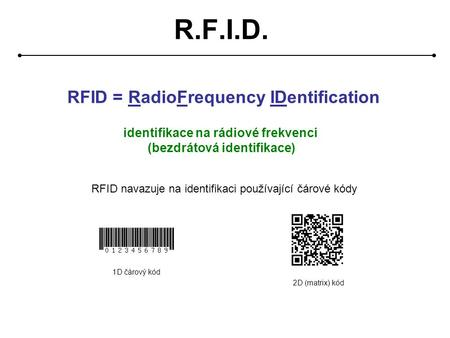 R.F.I.D. RFID = RadioFrequency IDentification