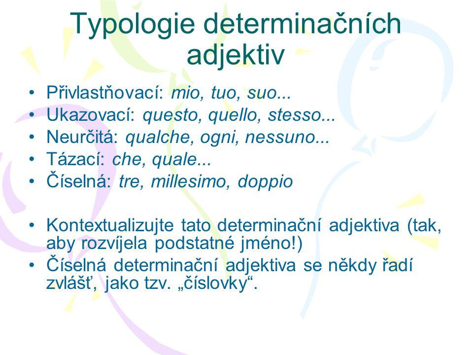 Typologie determinačních adjektiv
