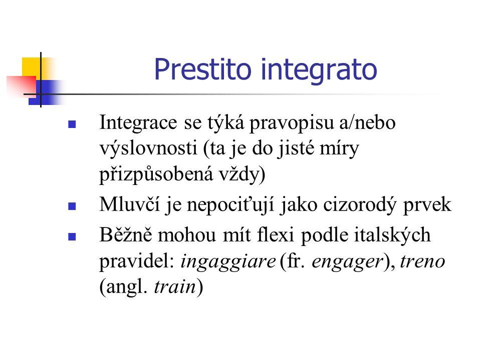 Prestito integrato Integrace se týká pravopisu a/nebo výslovnosti (ta je do jisté míry přizpůsobená vždy)
