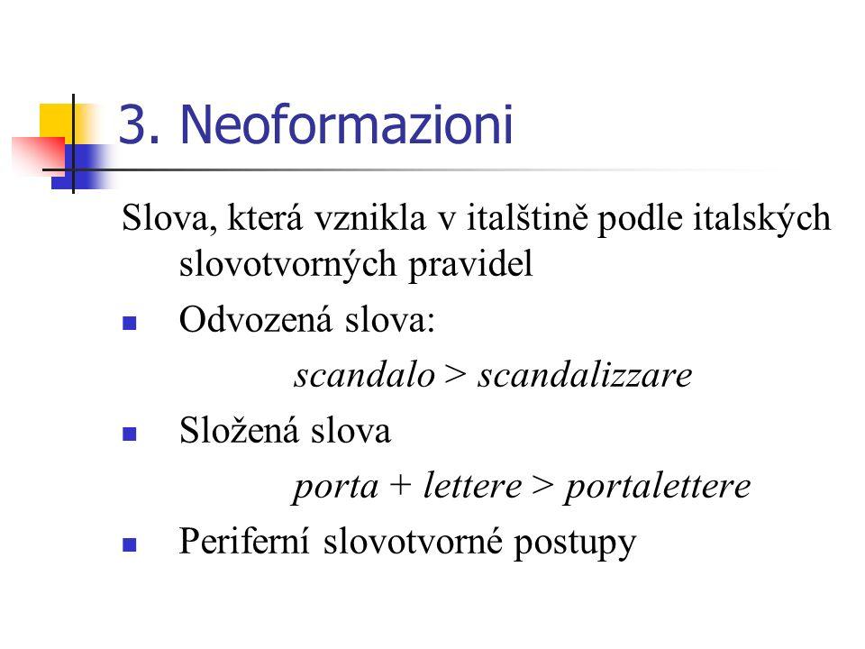 3. Neoformazioni Slova, která vznikla v italštině podle italských slovotvorných pravidel. Odvozená slova:
