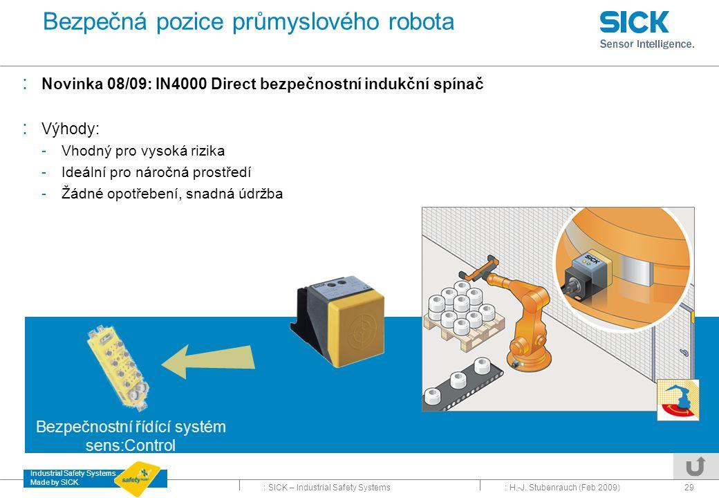 Bezpečná pozice průmyslového robota