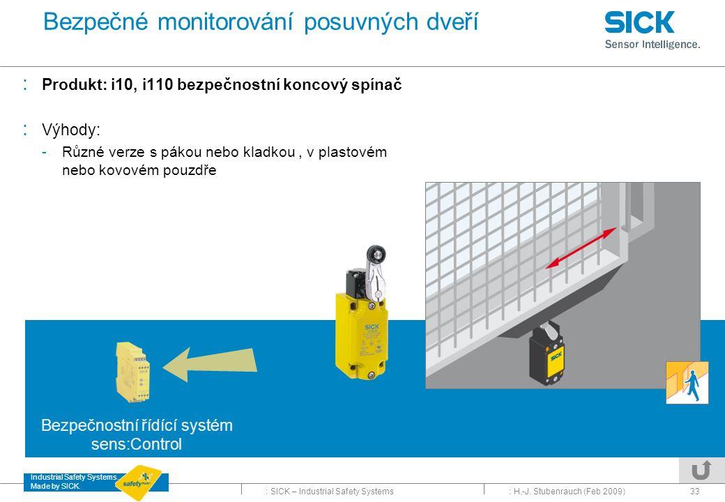 Bezpečné monitorování posuvných dveří