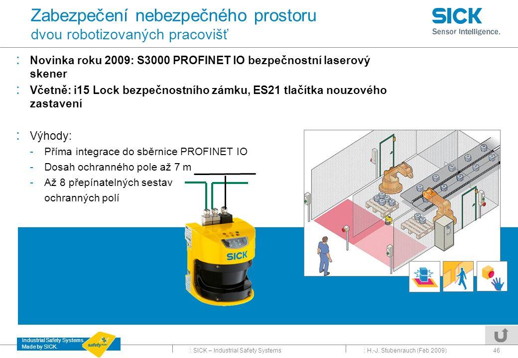 Zabezpečení nebezpečného prostoru dvou robotizovaných pracovišť
