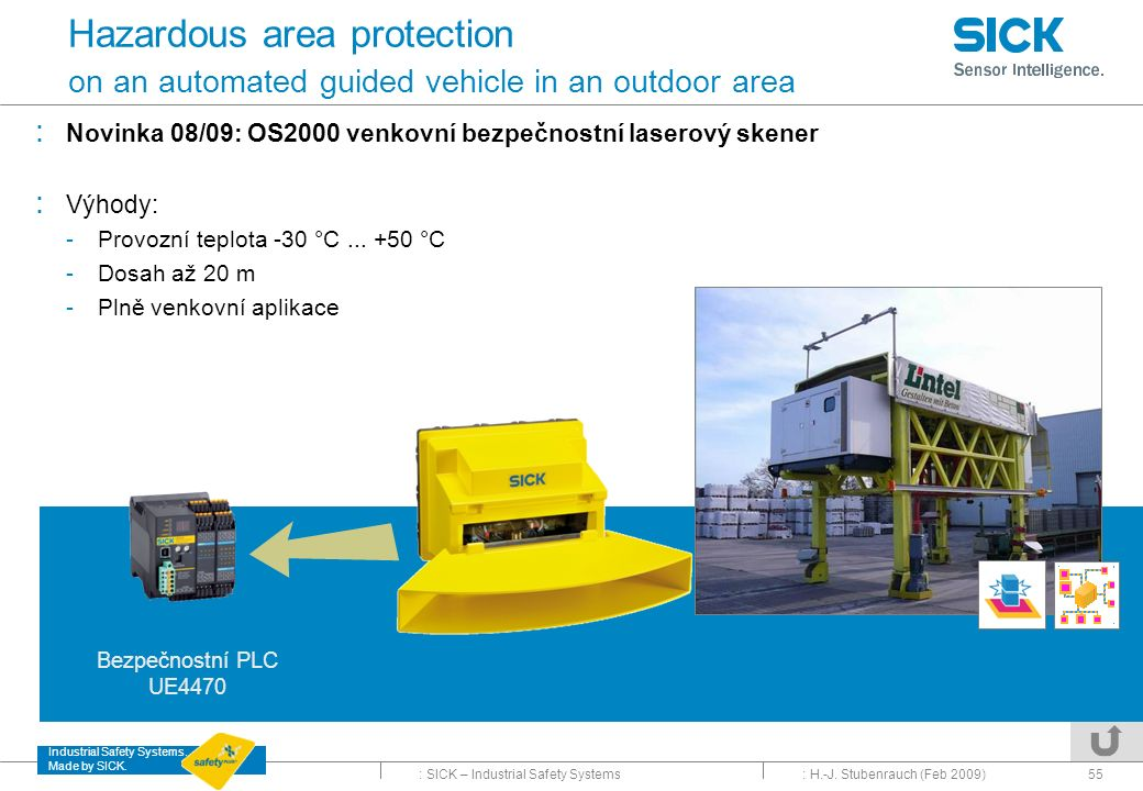 Hazardous area protection on an automated guided vehicle in an outdoor area