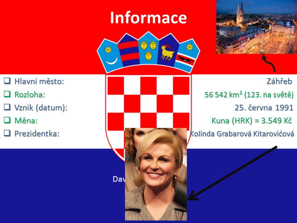 Informace Hlavní město: Záhřeb Rozloha: 56 542 km² (123. na světě)