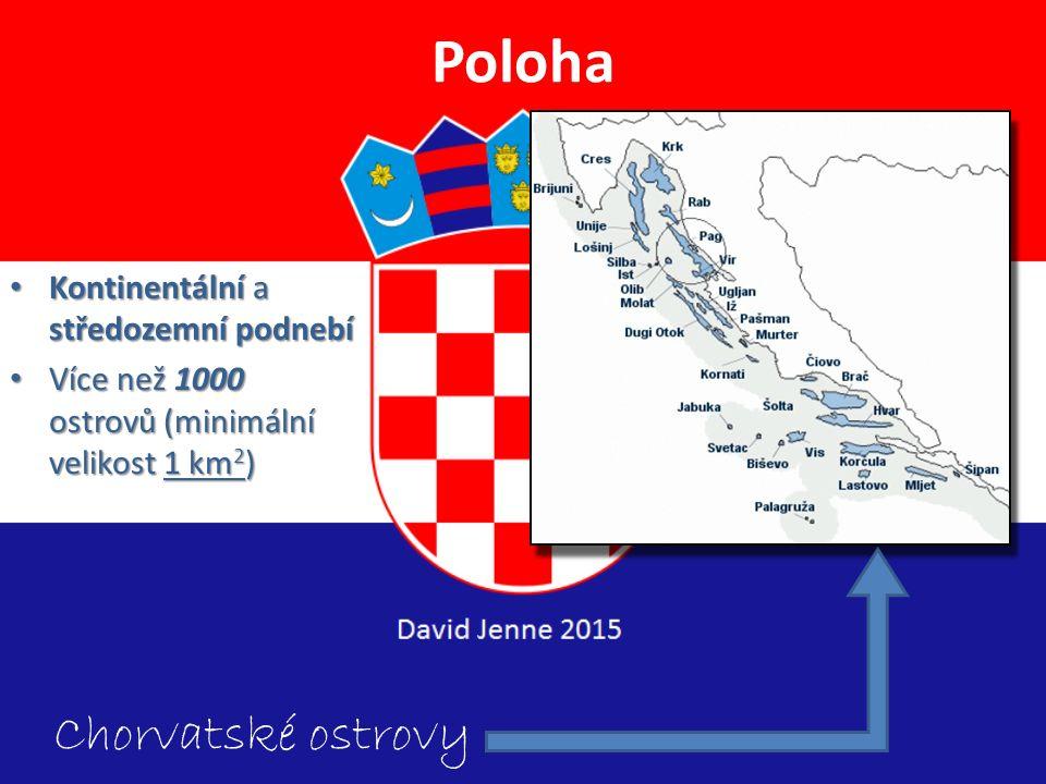 Poloha Chorvatské ostrovy Kontinentální a středozemní podnebí