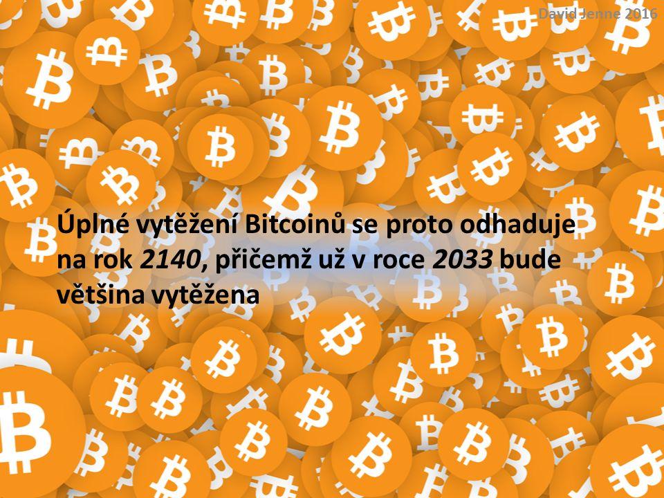David Jenne 2016 Úplné vytěžení Bitcoinů se proto odhaduje na rok 2140, přičemž už v roce 2033 bude většina vytěžena.