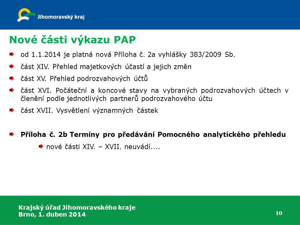 Nové části výkazu PAP od 1.1.2014 je platná nová Příloha č. 2a vyhlášky 383/2009 Sb. část XIV. Přehled majetkových účastí a jejich změn.