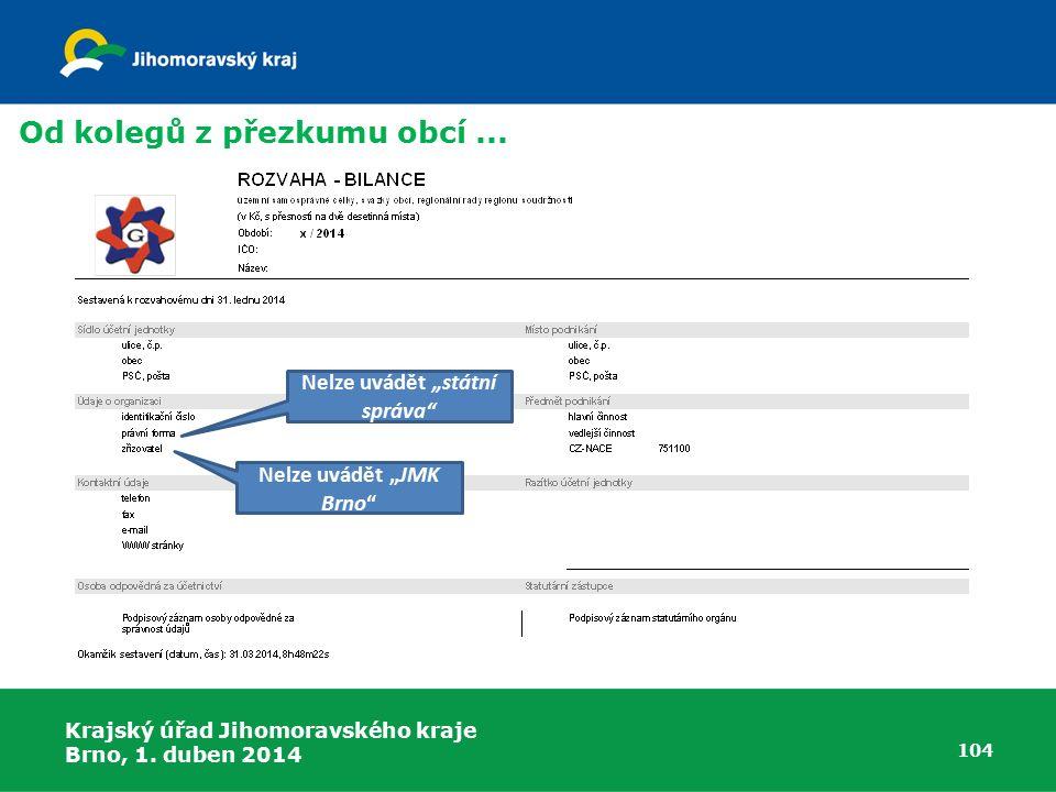"""Nelze uvádět """"státní správa Nelze uvádět """"JMK Brno"""