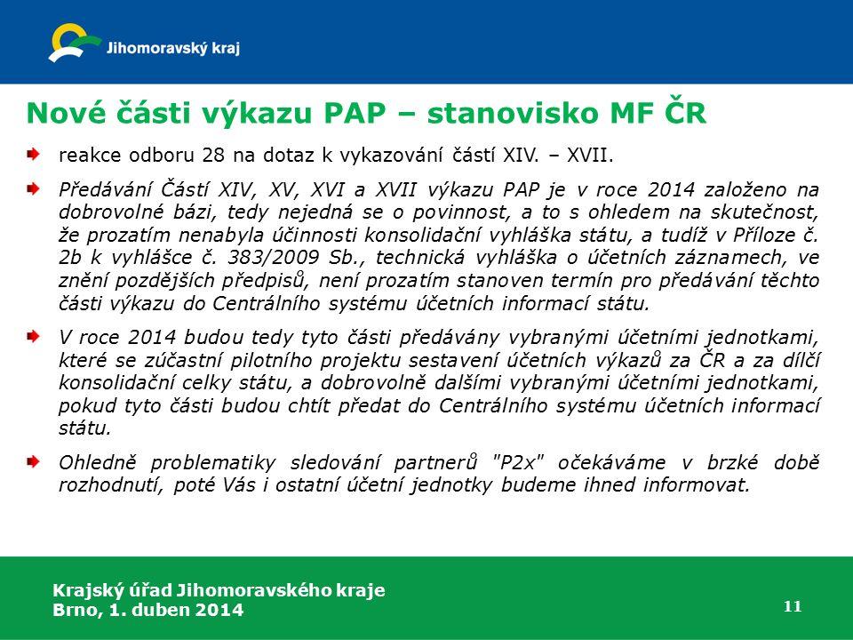 Nové části výkazu PAP – stanovisko MF ČR