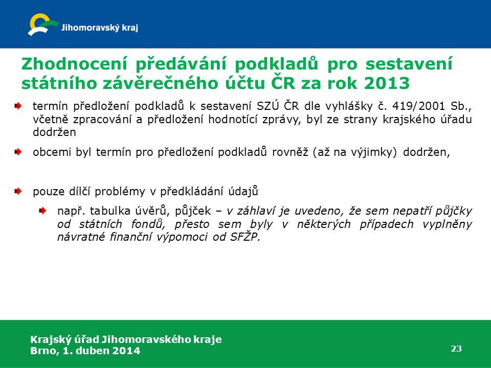 Zhodnocení předávání podkladů pro sestavení státního závěrečného účtu ČR za rok 2013