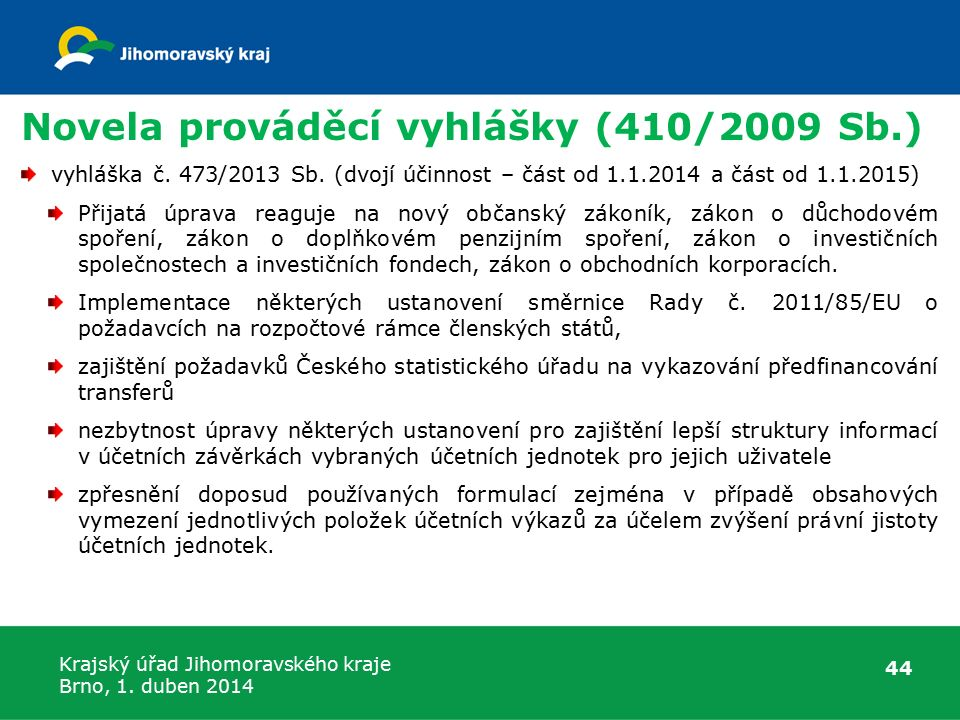Novela prováděcí vyhlášky (410/2009 Sb.)