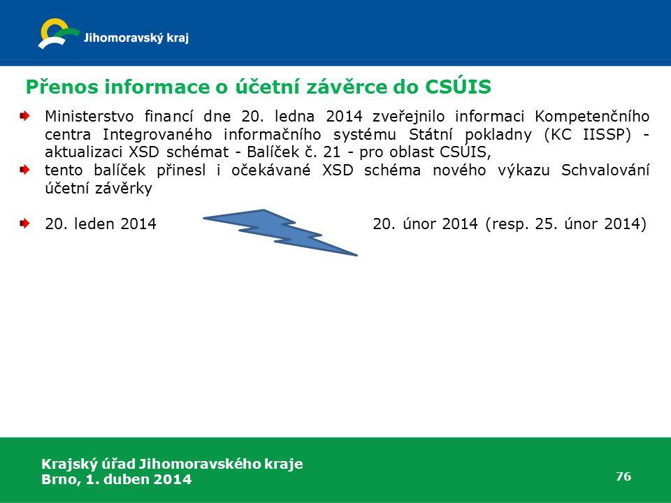 Přenos informace o účetní závěrce do CSÚIS
