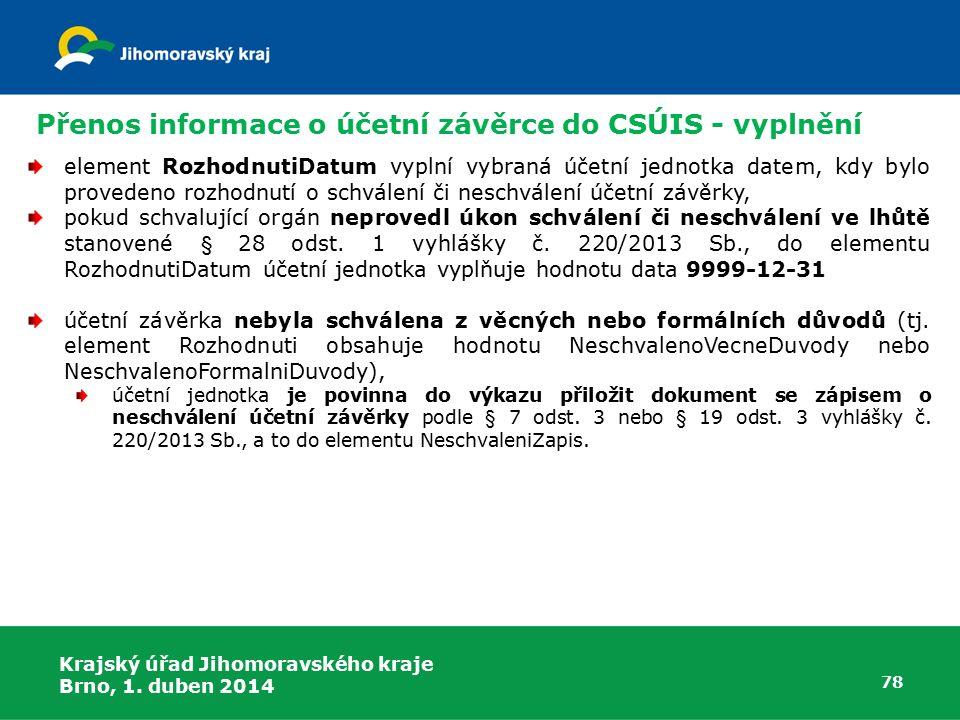 Přenos informace o účetní závěrce do CSÚIS - vyplnění