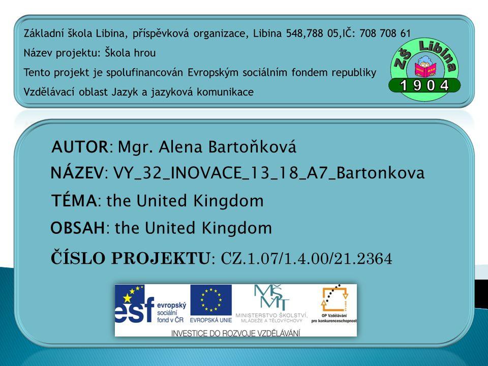 AUTOR: Mgr. Alena Bartoňková
