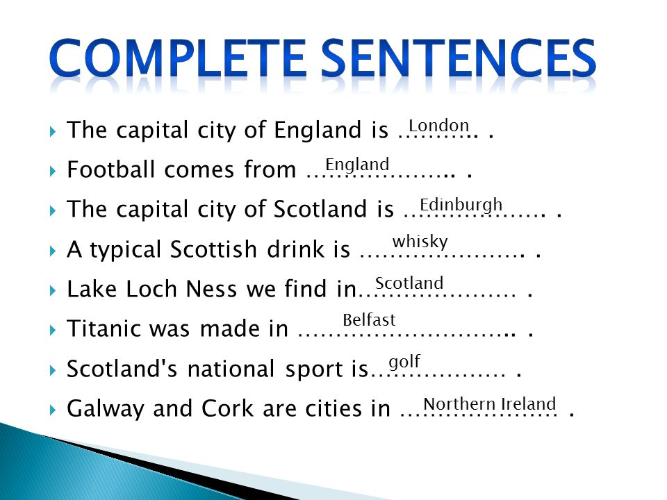 COMPLETE SENTENCES The capital city of England is ……….. .