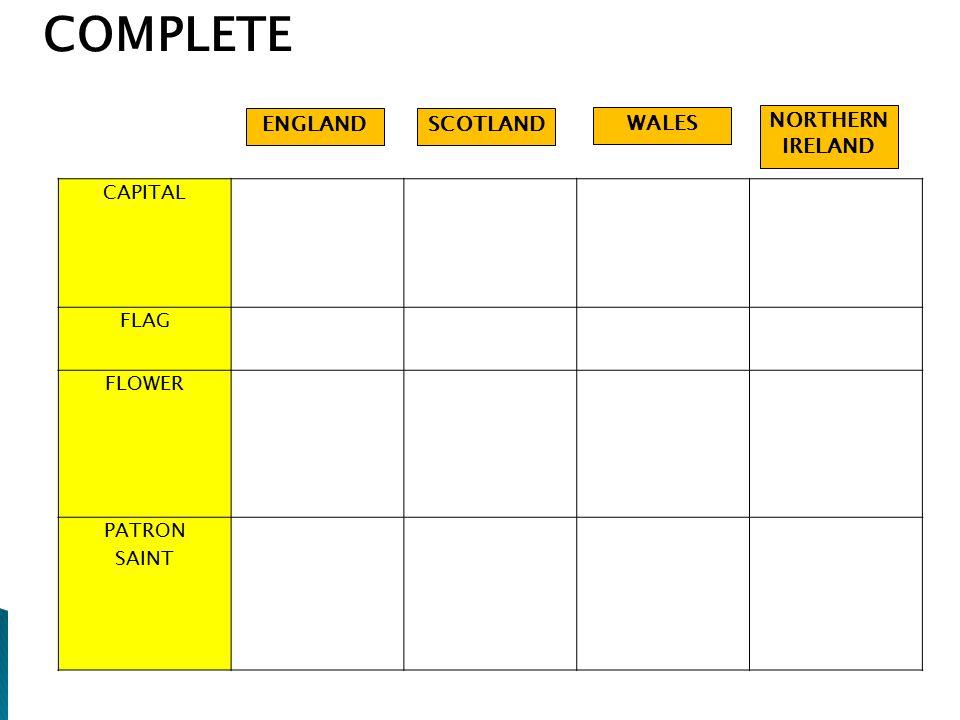 COMPLETE ENGLAND SCOTLAND WALES NORTHERN IRELAND CAPITAL FLAG FLOWER