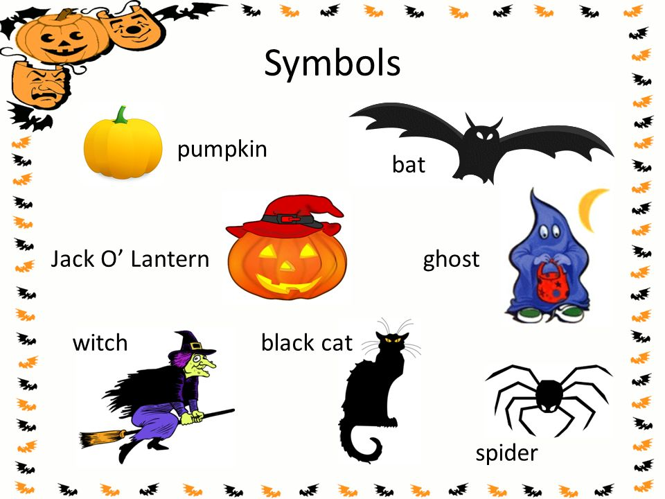 Symbols pumpkin bat Jack O' Lantern ghost witch black cat spider