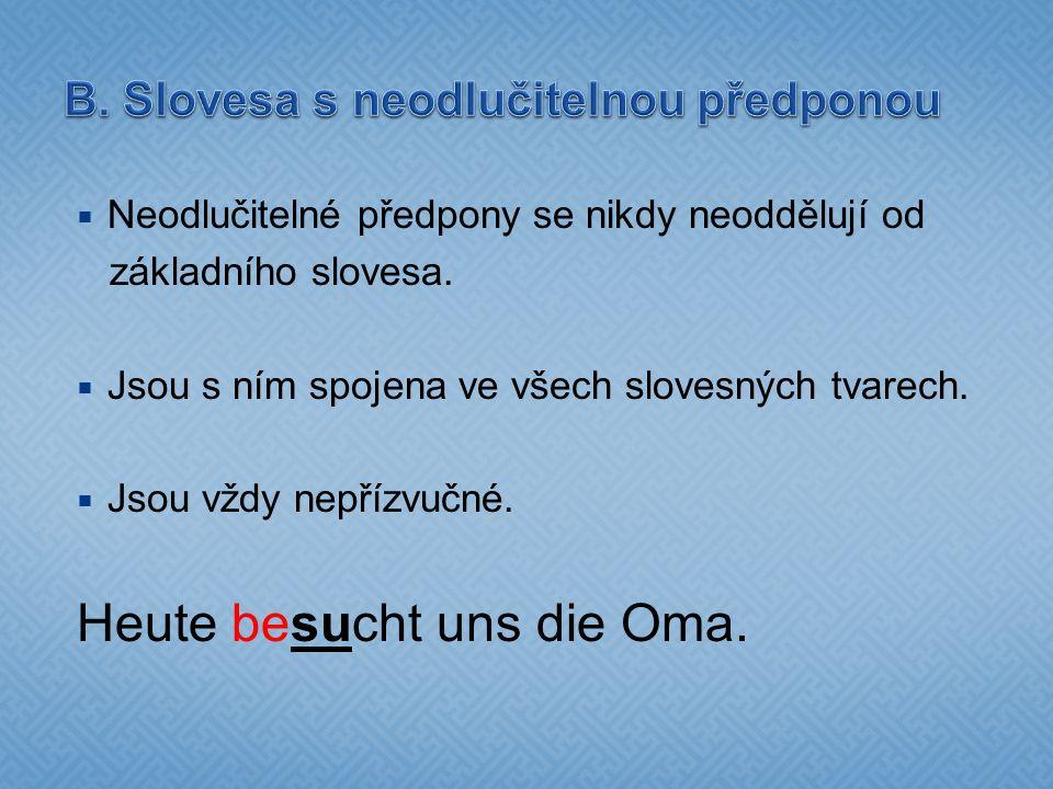 B. Slovesa s neodlučitelnou předponou