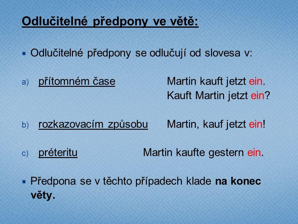 Odlučitelné předpony ve větě: