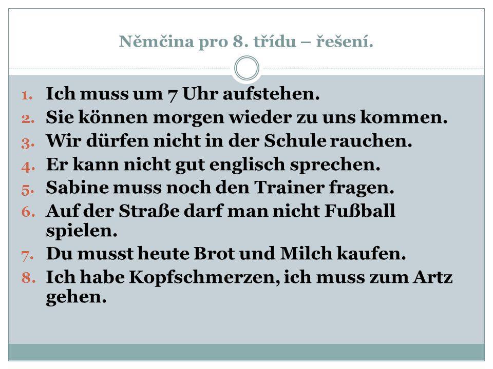 Němčina pro 8. třídu – řešení.