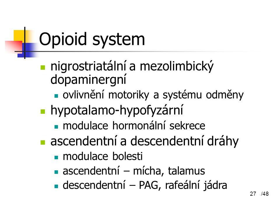 Opioid system nigrostriatální a mezolimbický dopaminergní