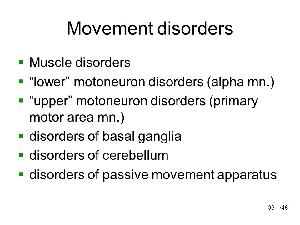 Movement disorders Muscle disorders
