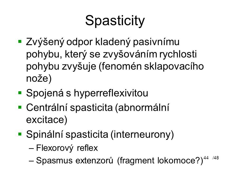 Spasticity Zvýšený odpor kladený pasivnímu pohybu, který se zvyšováním rychlosti pohybu zvyšuje (fenomén sklapovacího nože)