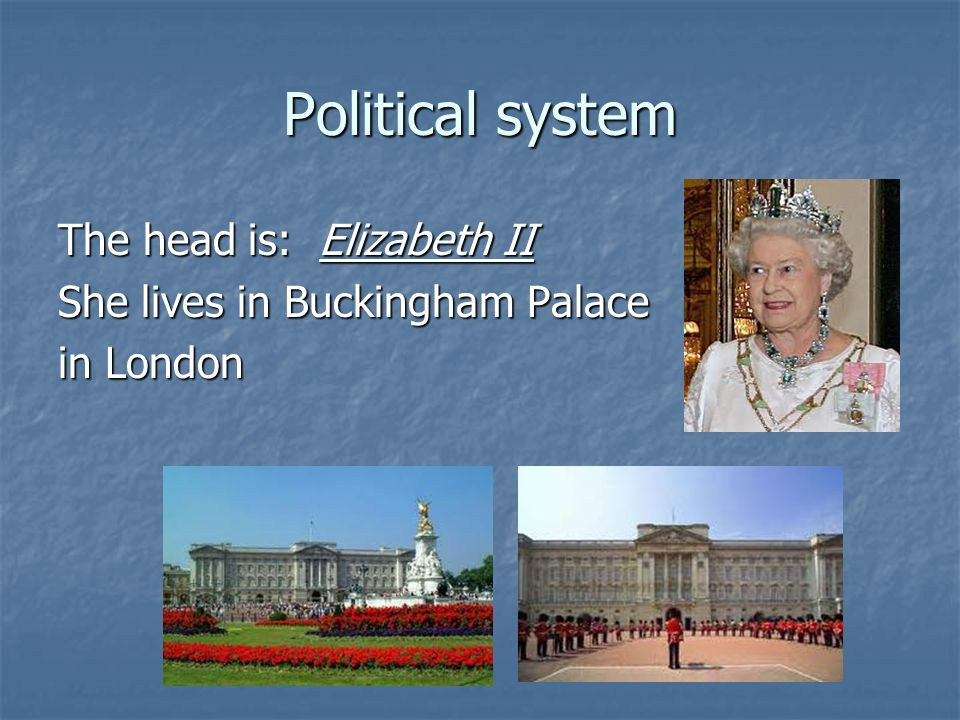 Political system The head is: Elizabeth II