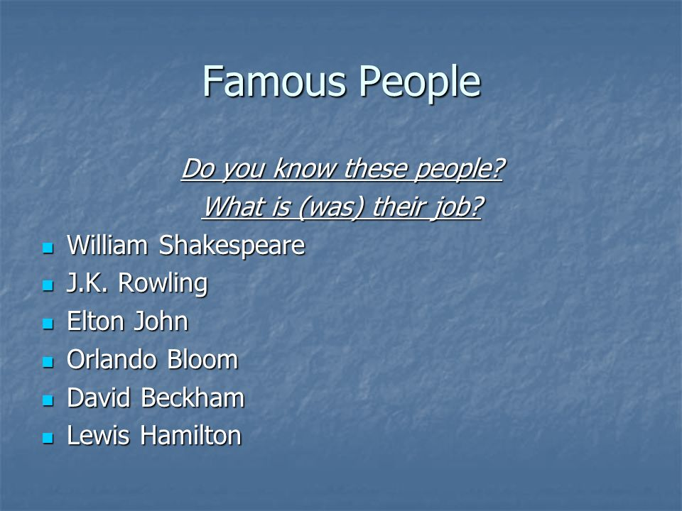 Do you know these people