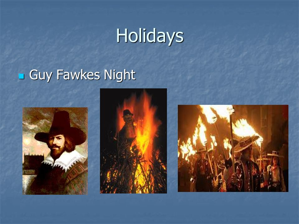 Holidays Guy Fawkes Night