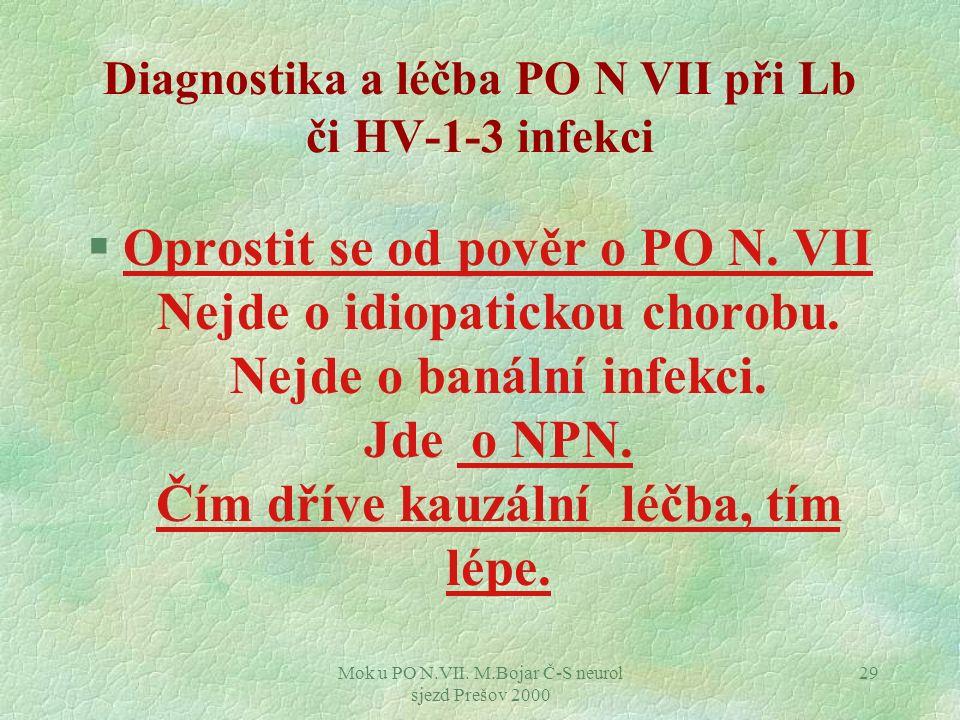 Diagnostika a léčba PO N VII při Lb či HV-1-3 infekci