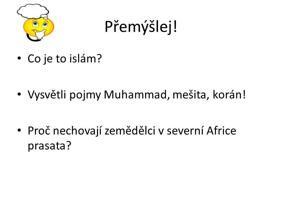 Přemýšlej! Co je to islám Vysvětli pojmy Muhammad, mešita, korán!