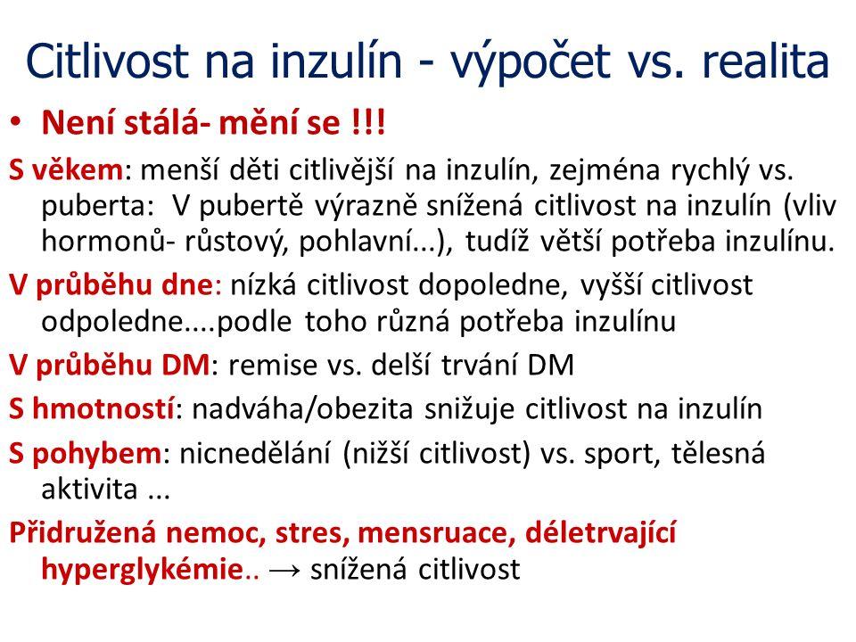 Citlivost na inzulín - výpočet vs. realita