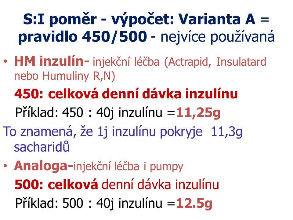 S:I poměr - výpočet: Varianta A = pravidlo 450/500 - nejvíce používaná