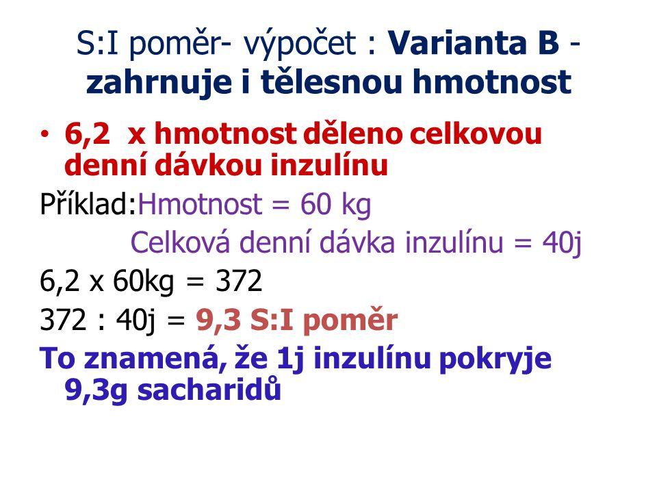 S:I poměr- výpočet : Varianta B - zahrnuje i tělesnou hmotnost
