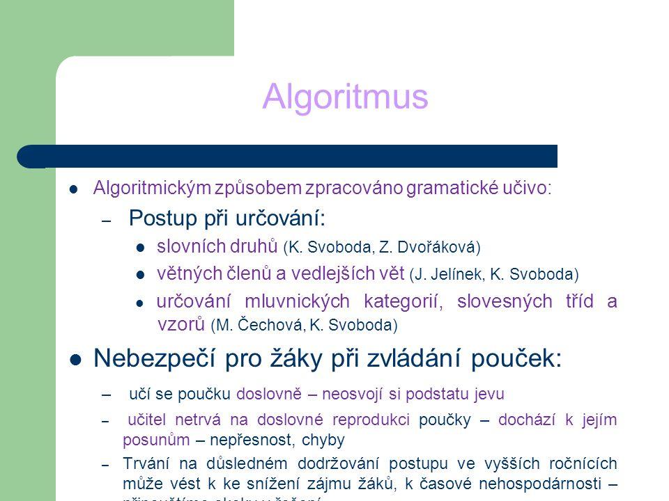 Algoritmus Nebezpečí pro žáky při zvládání pouček:
