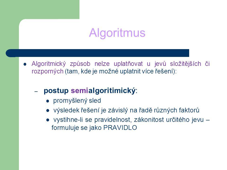 Algoritmus postup semialgoritimický: