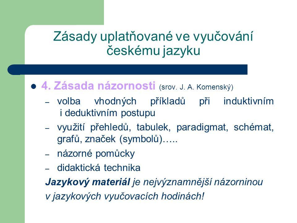 Zásady uplatňované ve vyučování českému jazyku
