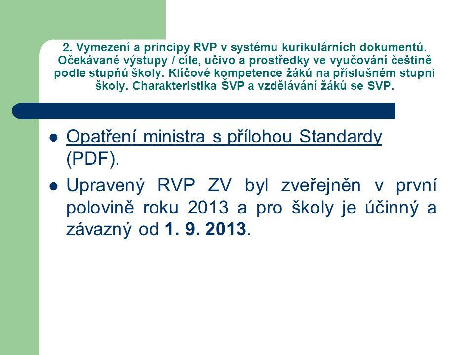 Opatření ministra s přílohou Standardy (PDF).