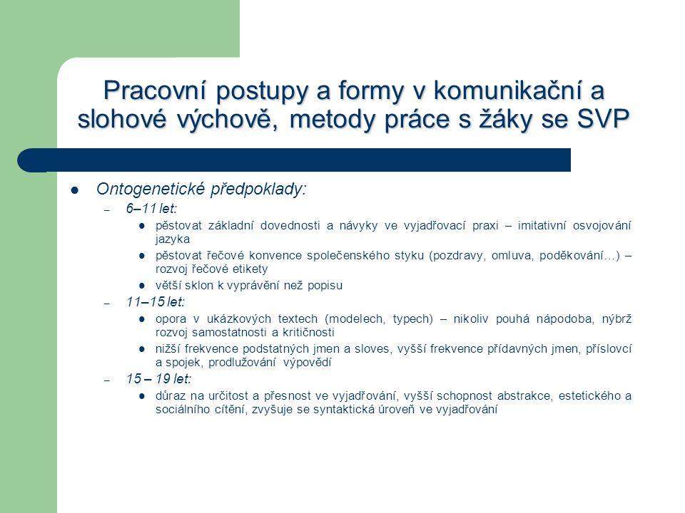 Pracovní postupy a formy v komunikační a slohové výchově, metody práce s žáky se SVP