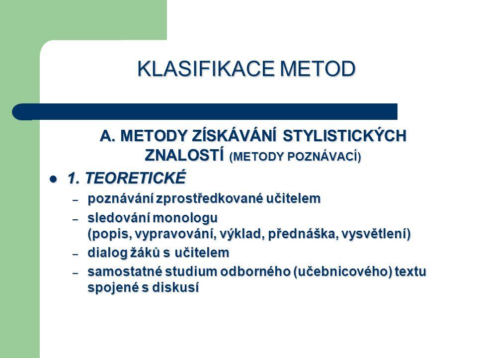 A. METODY ZÍSKÁVÁNÍ STYLISTICKÝCH ZNALOSTÍ (METODY POZNÁVACÍ)