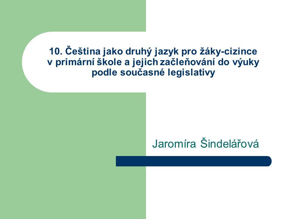 10. Čeština jako druhý jazyk pro žáky-cizince v primární škole a jejich začleňování do výuky podle současné legislativy