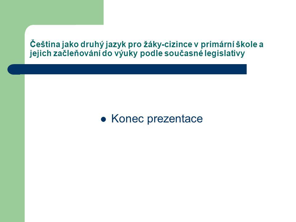 Čeština jako druhý jazyk pro žáky-cizince v primární škole a jejich začleňování do výuky podle současné legislativy