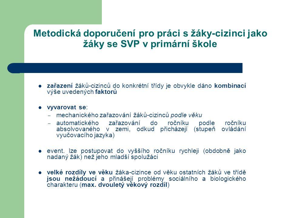Metodická doporučení pro práci s žáky-cizinci jako žáky se SVP v primární škole