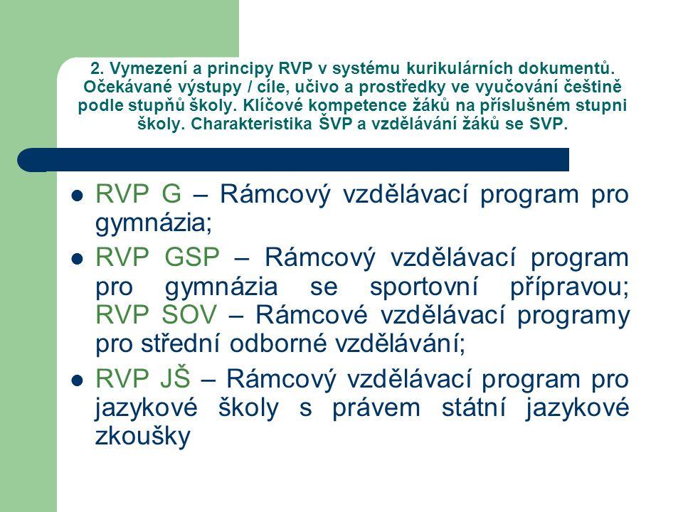 RVP G – Rámcový vzdělávací program pro gymnázia;