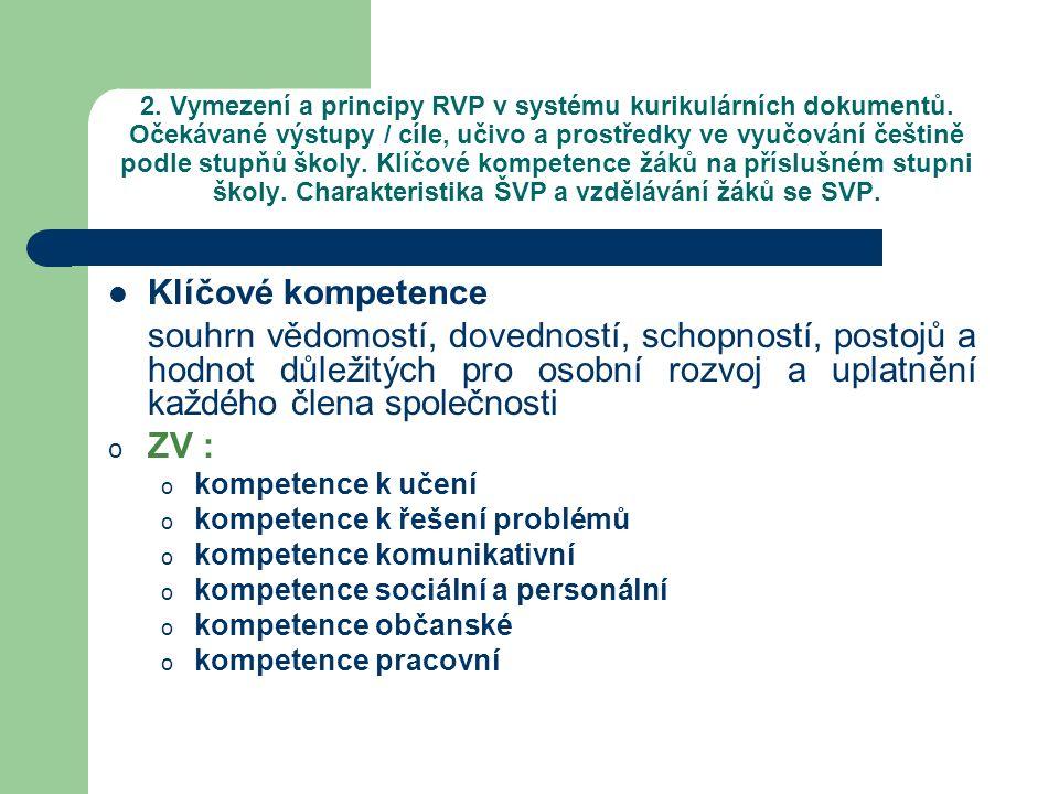 2. Vymezení a principy RVP v systému kurikulárních dokumentů