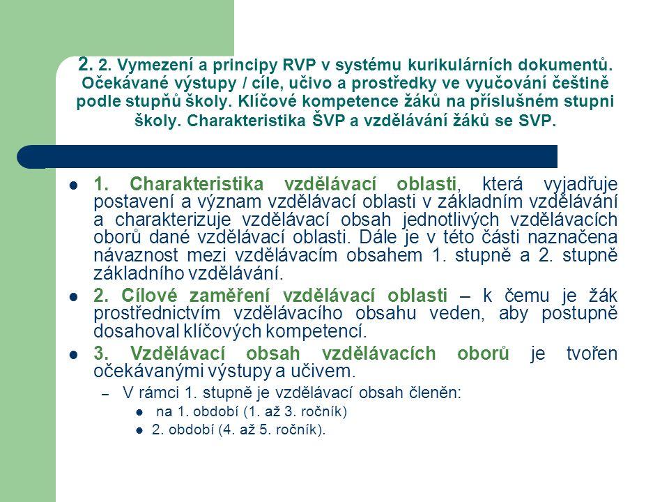 2. 2. Vymezení a principy RVP v systému kurikulárních dokumentů