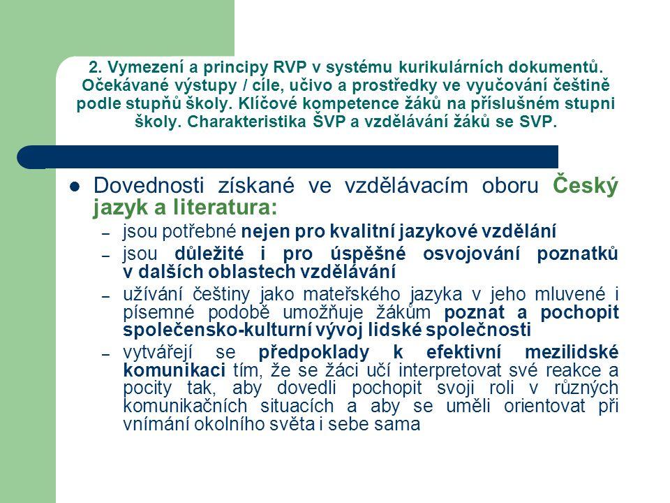 Dovednosti získané ve vzdělávacím oboru Český jazyk a literatura: