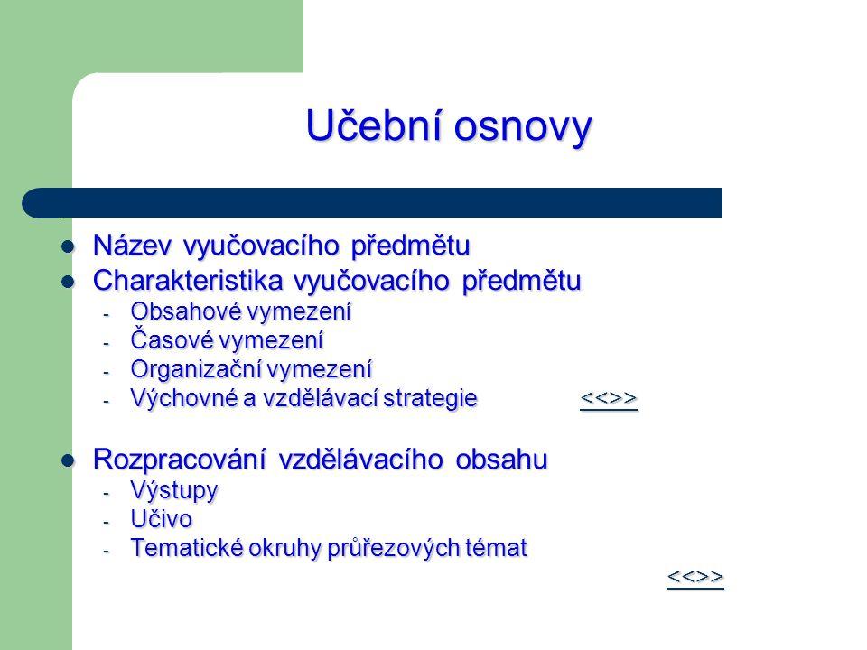 Učební osnovy Název vyučovacího předmětu